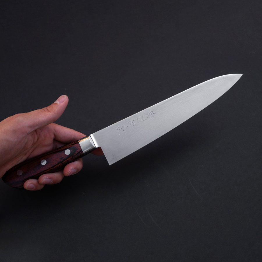 Hitohira-Imojiya-ST-Damascus-Gyuto-210mm-Imitation-Mahogany-Handle-10