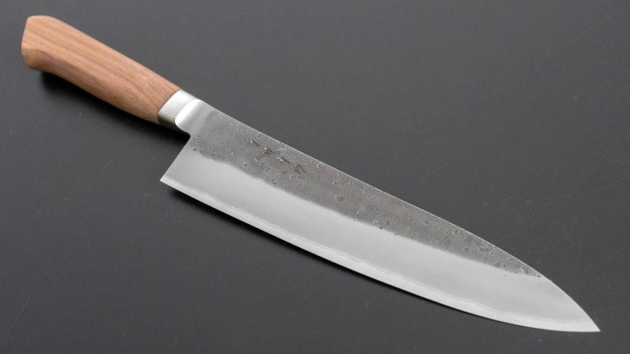 Hitohira TD Blue #2 Stainless Clad Nashiji Yo Gyuto 210mm Walnut Handle-2